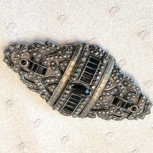 Rare Vtg Marcacite sterling onyx art deco brooch